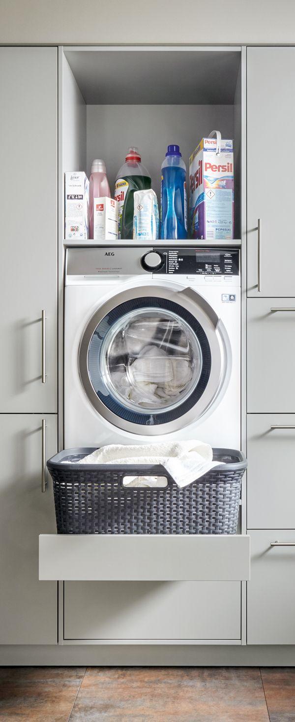 Gewaltig Küche Mit Waschmaschine Beste Wahl Rückenschonend Und Praktisch: Die Hoch Eingebaute Ausziehbarem