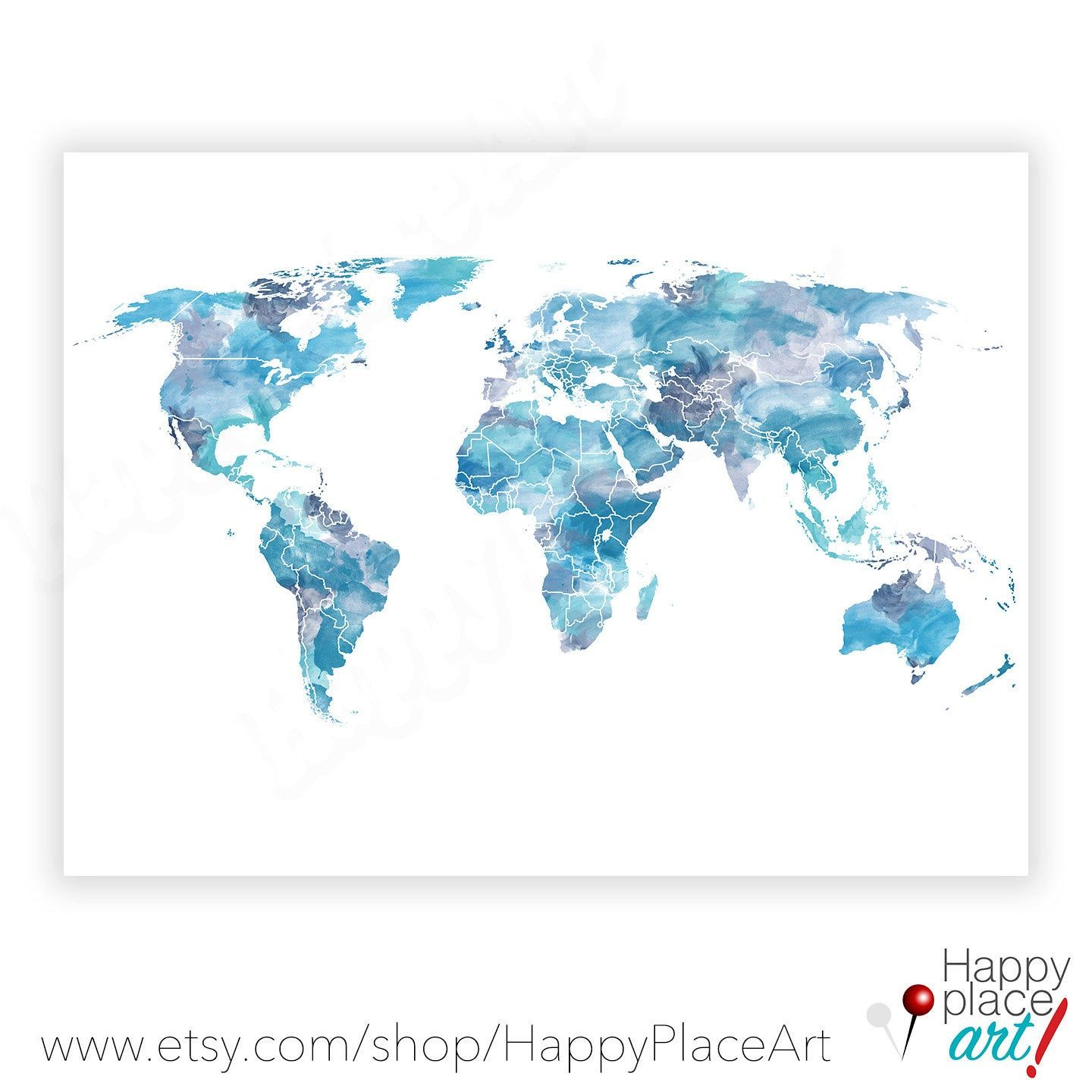 Shades of Blue, World Map, Watercolor world map, World map poster, Blue world map, Turquoise, World map Print, Large World Map printable Art #worldmapmural