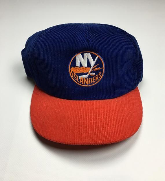 95c69bd524b 90s Vintage NY Islanders Corduroy Hat   1990s Ted Fletcher New York  Islanders Snapback Hat NHL Ice H