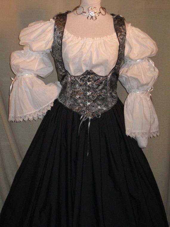 e8a9e9e96 DDNJ Choose Fabrics Renaissance Reversible Corset Style Bodice Chemise Skirt  3 pc Larp Plus Custom Made ANY Size Cosplay Anime Pirate Wench