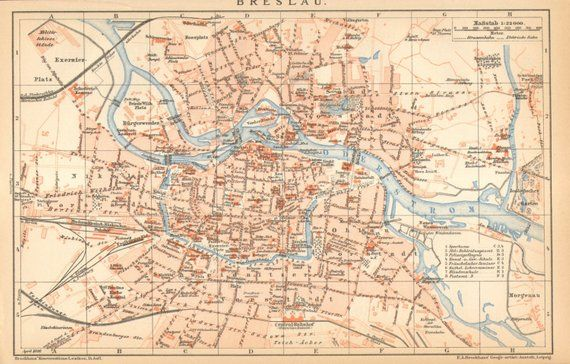 1896 Original Antique Dated City Map Of Breslau Wroclaw Products
