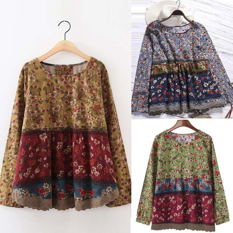 UK 8-24 ZANZEA Women Vintage Long Sleeve Floral Printed Baggy Tops Blouse Shirts