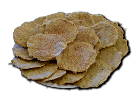 Flax seed chips/crackers flavored with popcorn seasoning  1 cup flax seed, 1 cup water, 1 1/2 tbsp seasoning.  - 350   10mins