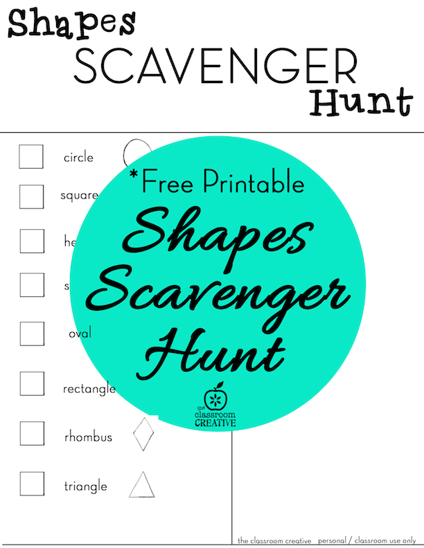 Shapes scavenger hunt with a *FREE PRINTABLE! | Summer Crafts ...