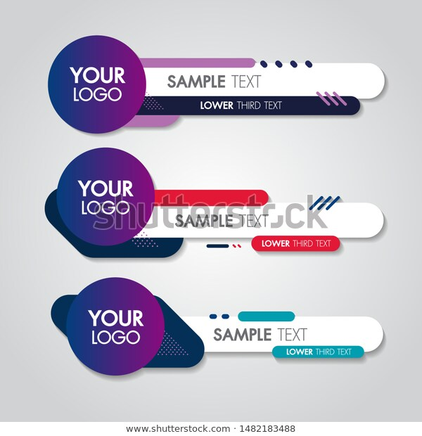 Lower Third White Colorful Design Template Stock Vector Royalty Free 1482183488 Lower Thirds Design Template Banner Design Inspiration