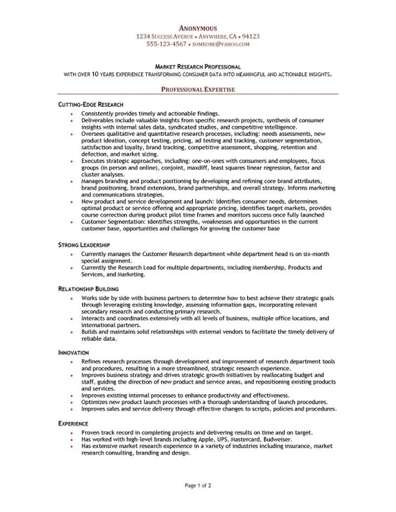 resume sample of a market research manager with over 10 years of experience transforming consumer data into meaningful and actionable insights - Market Research Resume Sample