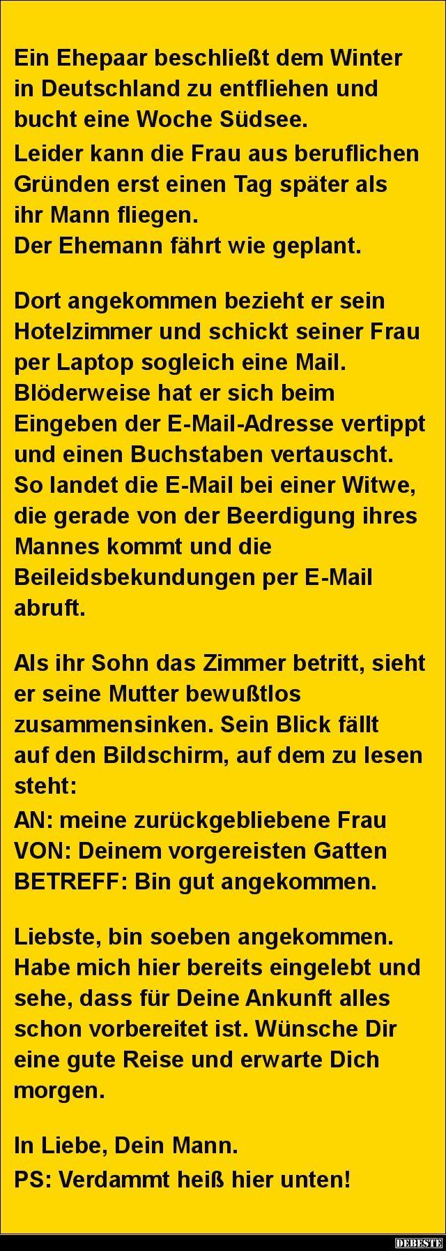 Ein Ehepaar beschließt dem Winter in Deutschland ...