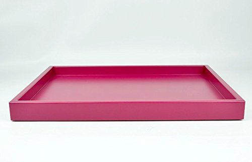 Large Raspberry Pink Coffee Table Ottoman Decorative Tray. A handcrafted low-profile wood tray in lustrous raspberry pink matte lacquer is a must have chic accessory for your coffee table or ottoman. The low-profile style is fabulous at creating a base for your wonderful collection, makes a terrific presentation anywhere, and is a sleek topper for your coffee table or ottoman.