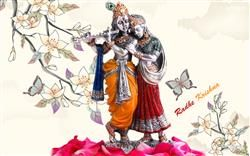 Lord Radhe Krishna With White Natural Background Hd Wallpaper