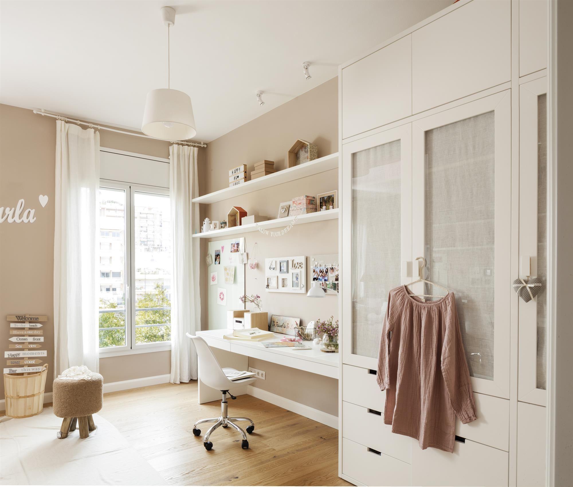 Mg 56878 escritorio armario y baldas en blanco y paredes - Dormitorio beige ...
