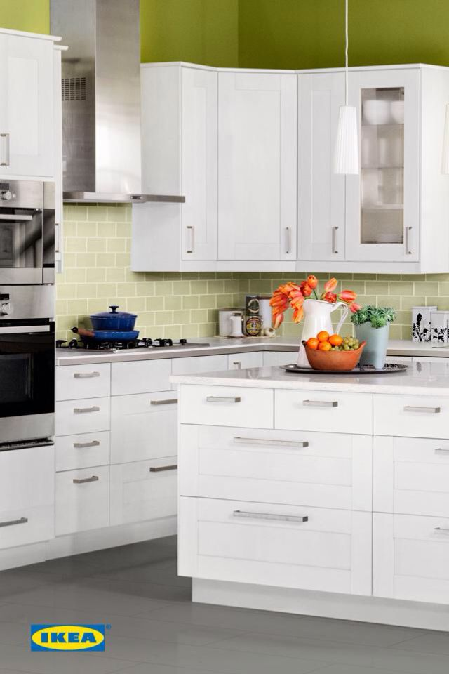 IKEA Kitchen Cabinets #deltafaucetinspired. Love The White