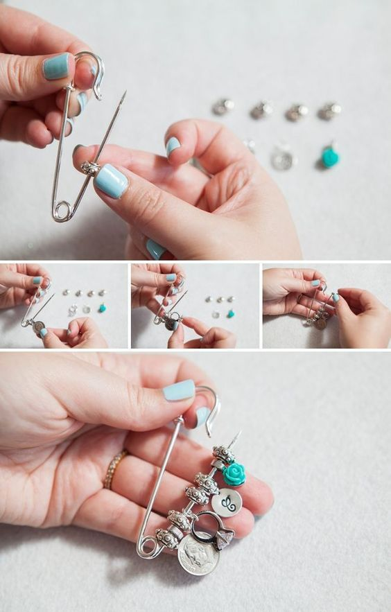 Diy Wedding Make An Old New Borrowed Blue Dress Pin With Special Trinkets