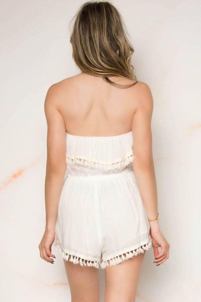 d7490bfa4d Tasha Strapless Lace Romper - White