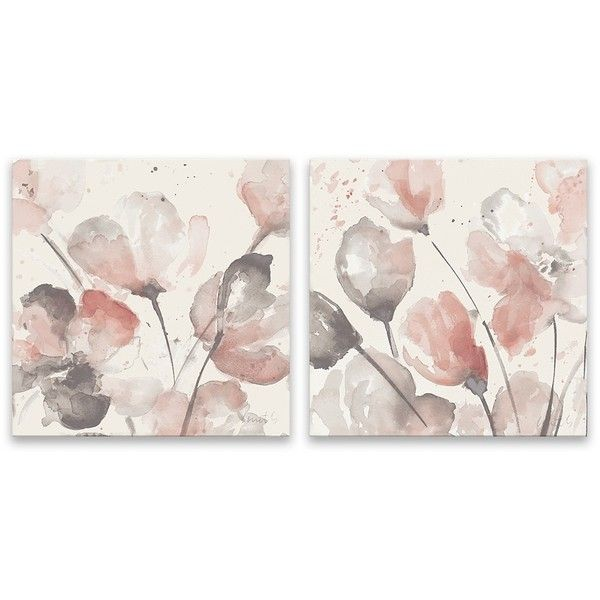 Neutral Pink Floral Canvas Art Prints Set Of 2 473 345 Idr Liked On Polyvore Featuring Home Ho Floral Wall Art Floral Wall Art Canvases Canvas Art Prints