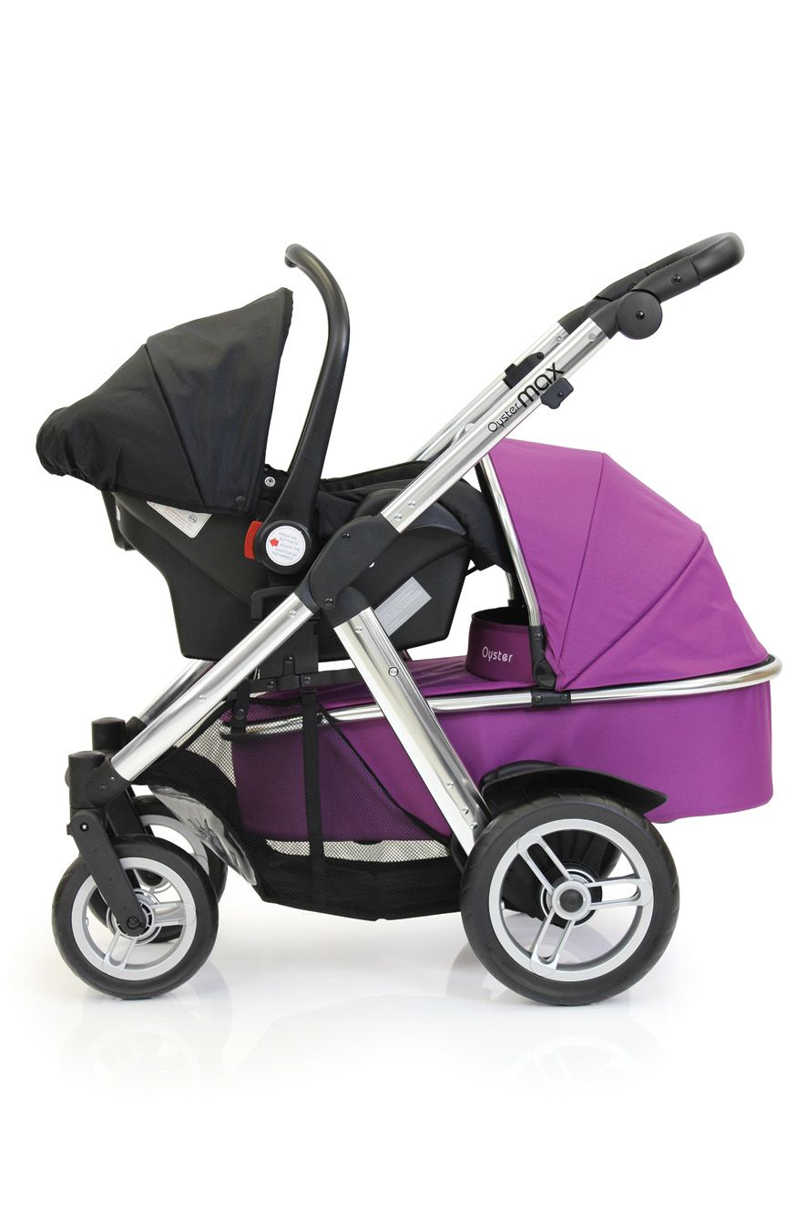 Oyster Pram Purple Oyster Max Tandem Stroller With Black Car Seat And Carry Cot
