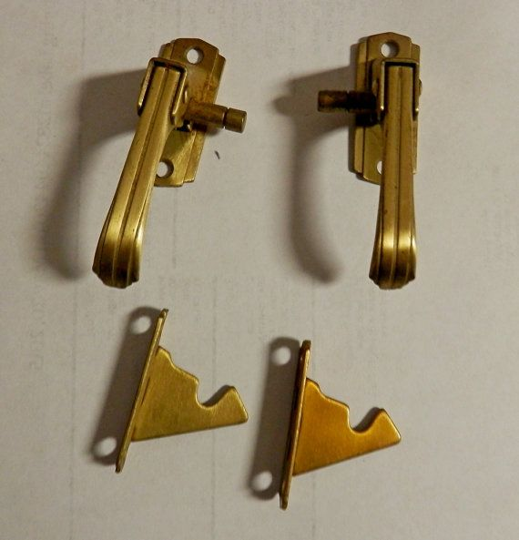 NOS Vintage Brass Hoosier Sellers Spring Lift Cabinet Door Latch Set Left Hand