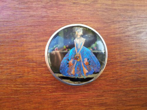 Vintage Coty Paris Powder Compact Butterfly Wing Lady 20s