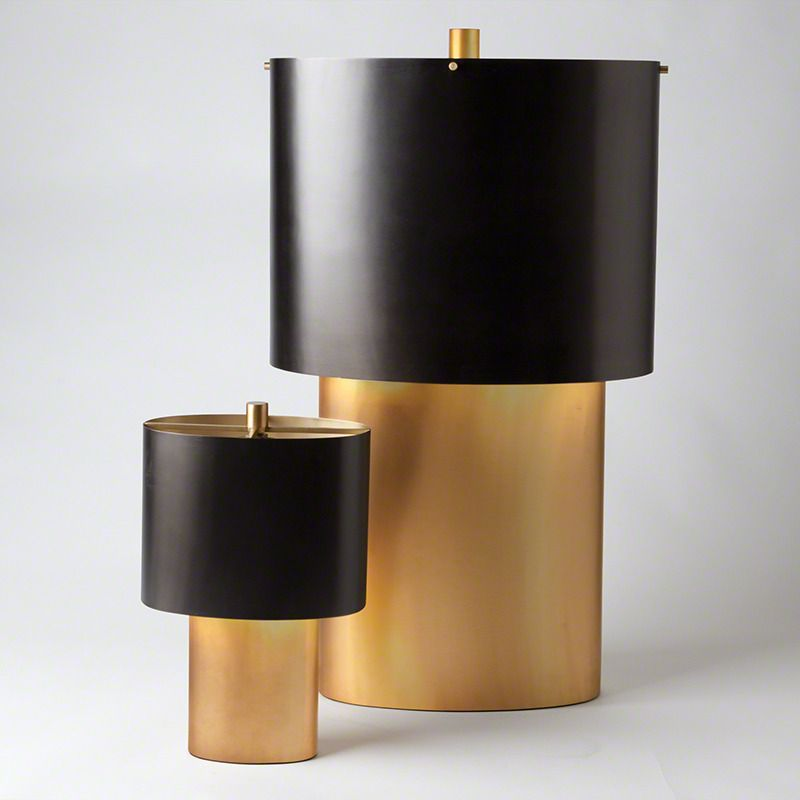 Artful, high-design oval lamps with antique bronze-finished oval shade   domino.com