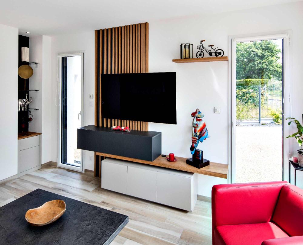 Meuble Tv Tasseaux Et Caissons Suspendus Compagnie Des Ateliers En 2020 Meuble Tv Meuble Tv Suspendu Mobilier De Salon