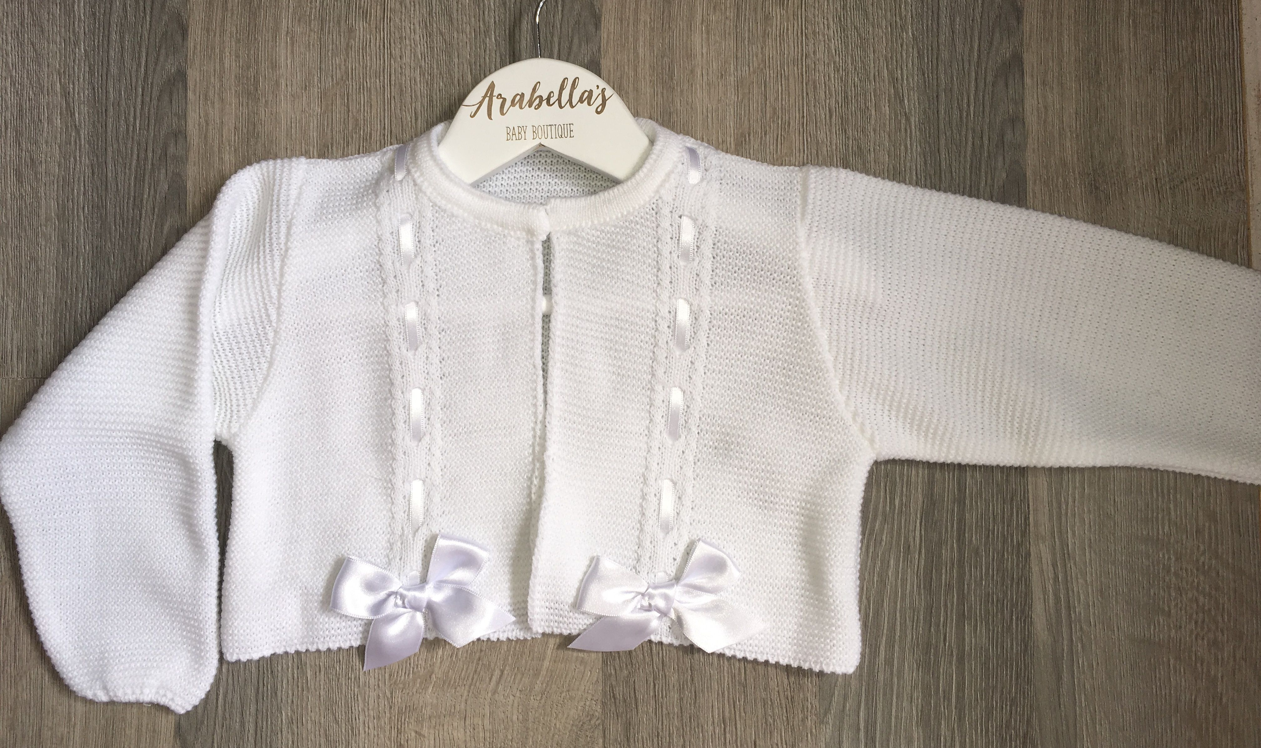1a0d47197 Spanish knitted white bow cardigan Spanish girls Arabellas Baby ...