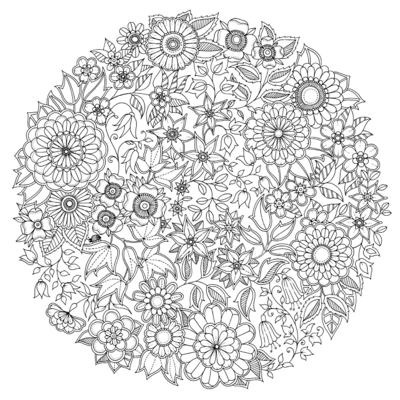 Mandala d adulte  colorier aux motifs floraux tiré des créations de Johanna Basford dans 11 coloriages de mandalas pour adultes  imprimer pour se