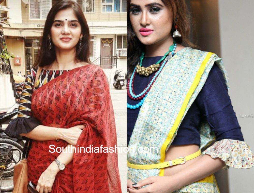 Bell Sleeves And Ruffle Sleeves Blouse Designs For Sarees Aree