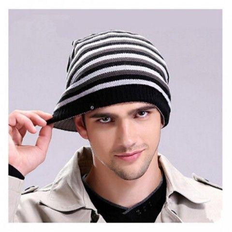 Black and white stripes knit beanie hats for men  a0b5776b1