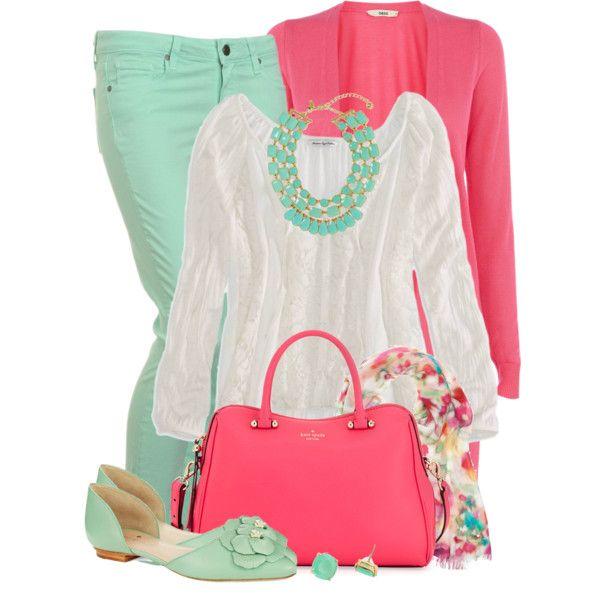So cute! Mint Green Denim, Carnation Pink Jacket, White Blouse, Caramel Heel Shoes, Gold Watch, Mint Green & Gold Statement Necklace,