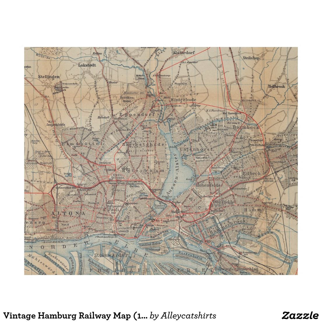 Vintage Hamburg Railway Map 1910 Fleece Blanket Fleece Blankets
