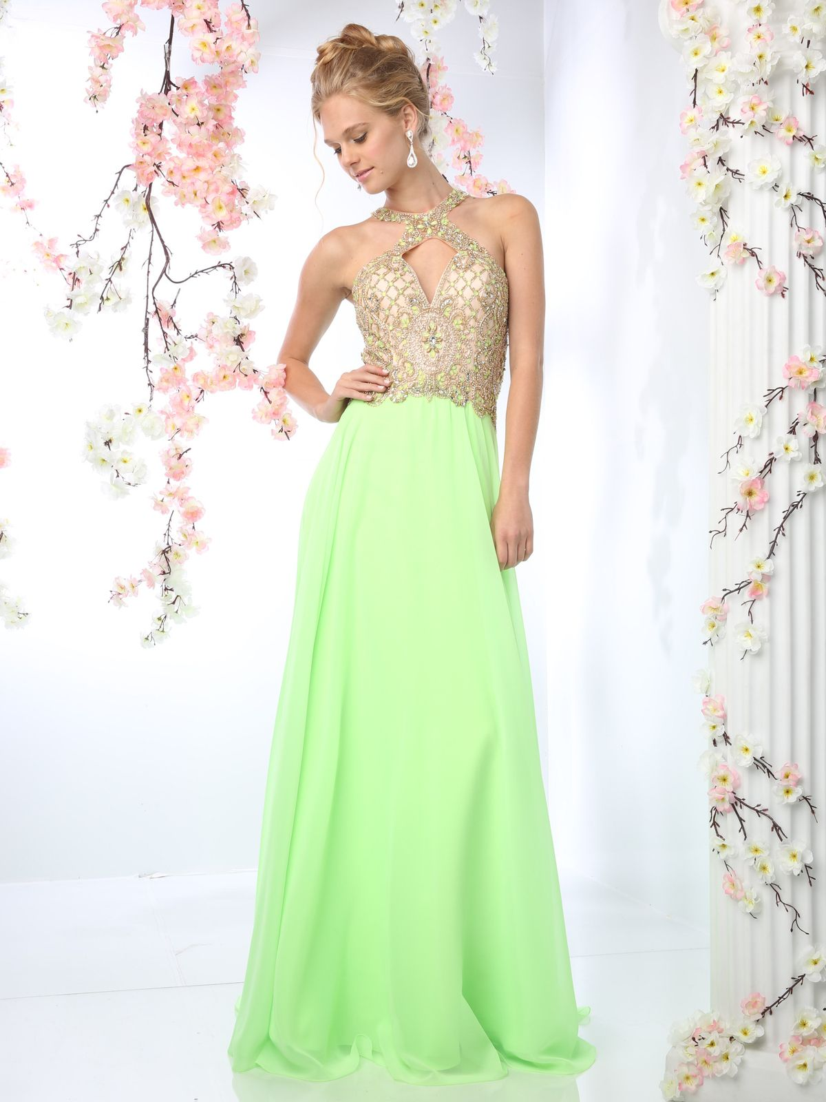 Halter Beaded Top Prom Dress   Sung Boutique