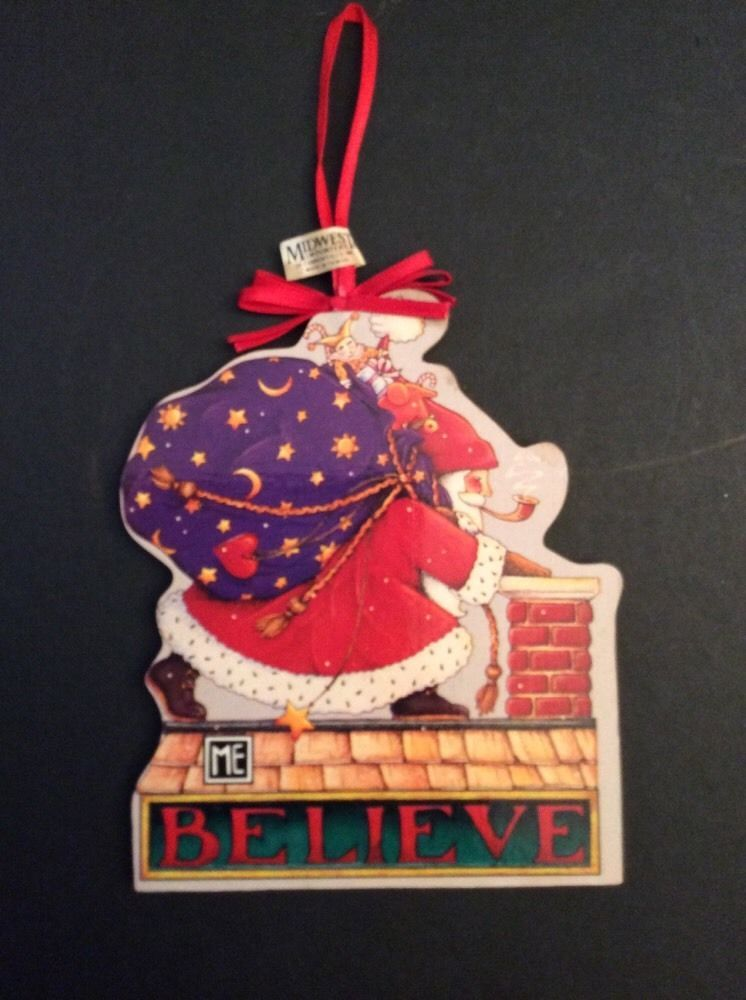 Mary Engelbreit Believe Santa Wood Christmas Ornament Midwest Chimney Bag  Toys - Mary Engelbreit Believe Santa Wood Christmas Ornament Midwest