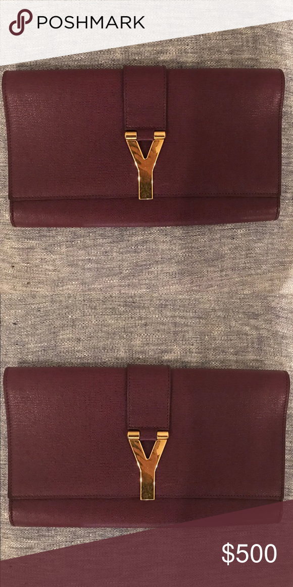 d84260174ef YSL burgundy clutch Used, but in great condition. Classic original YSL  clutch. Yves Saint Laurent Bags Clutches & Wristlets