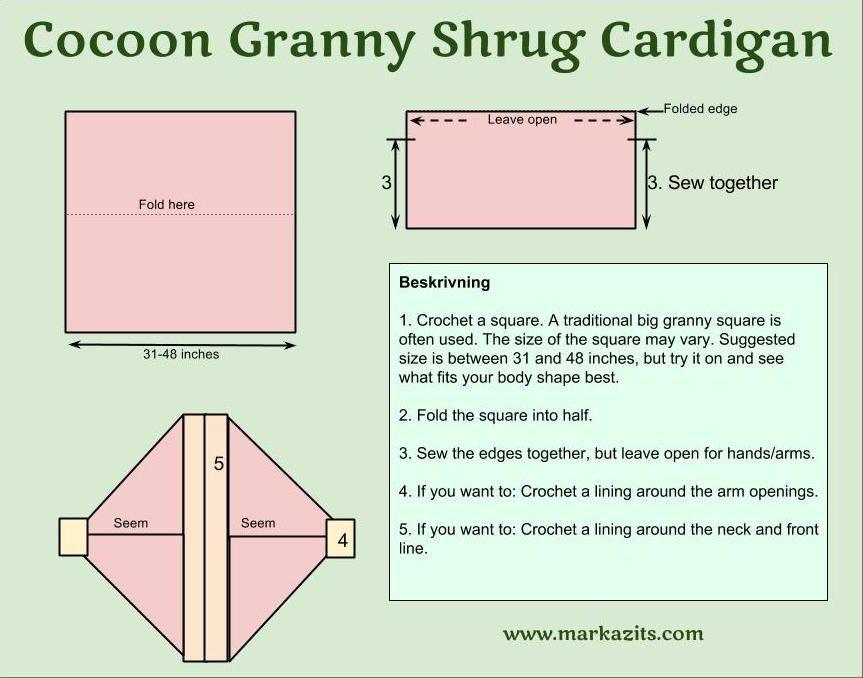 cocoon granny shrug cardigan kofta pattern diagram crochet ...