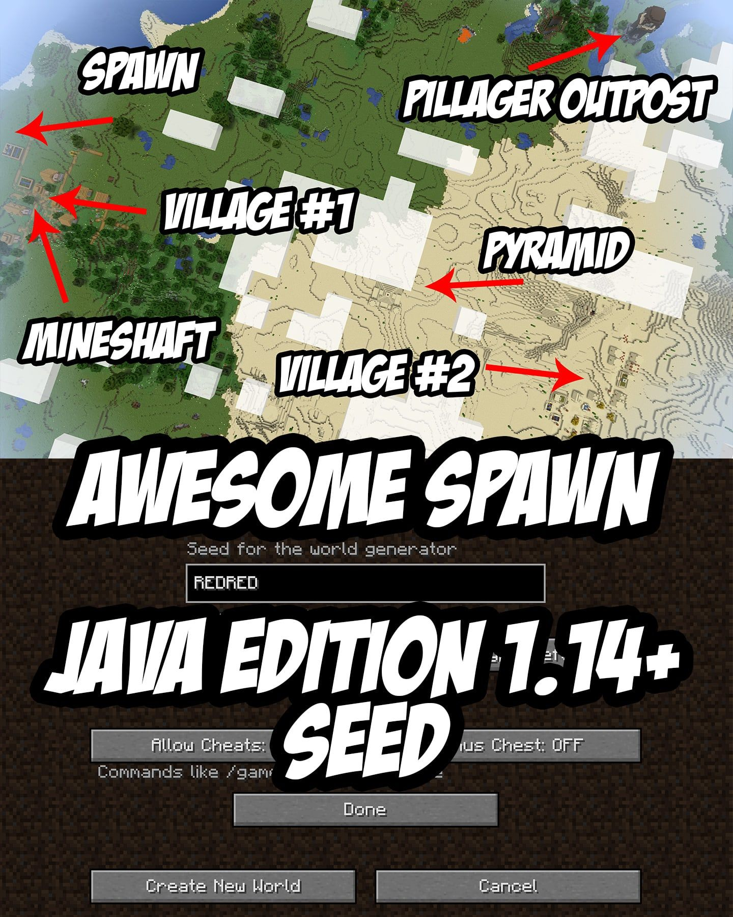 An Awesome Spawn For Minecraft 114 Seed Redred