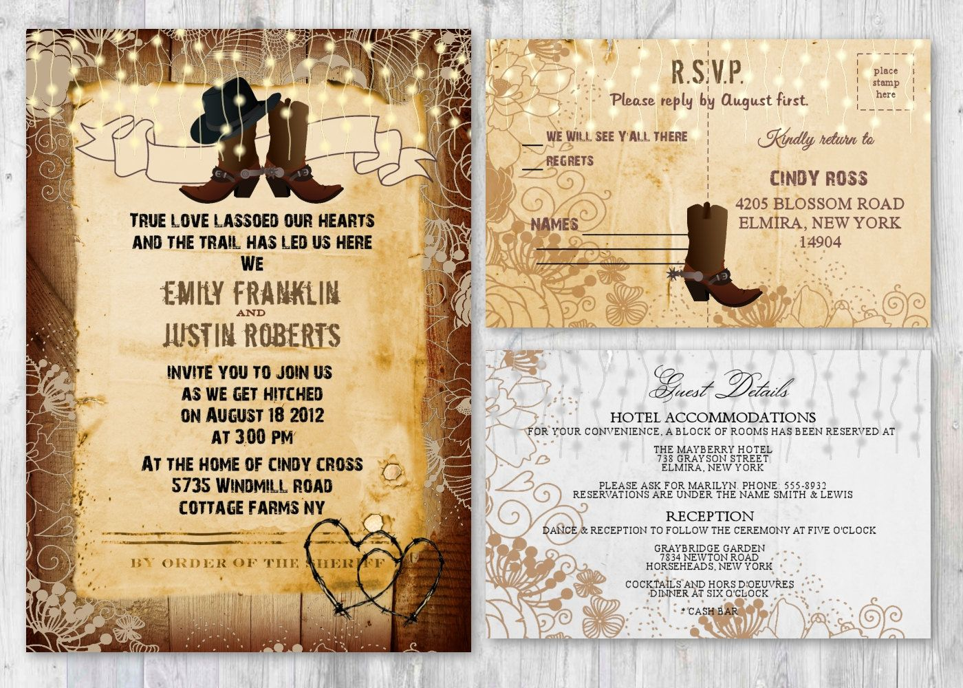 Cowboy Boot Wedding Invitations: Western, Rustic Wedding Invitations, Cowboy Boot Boots