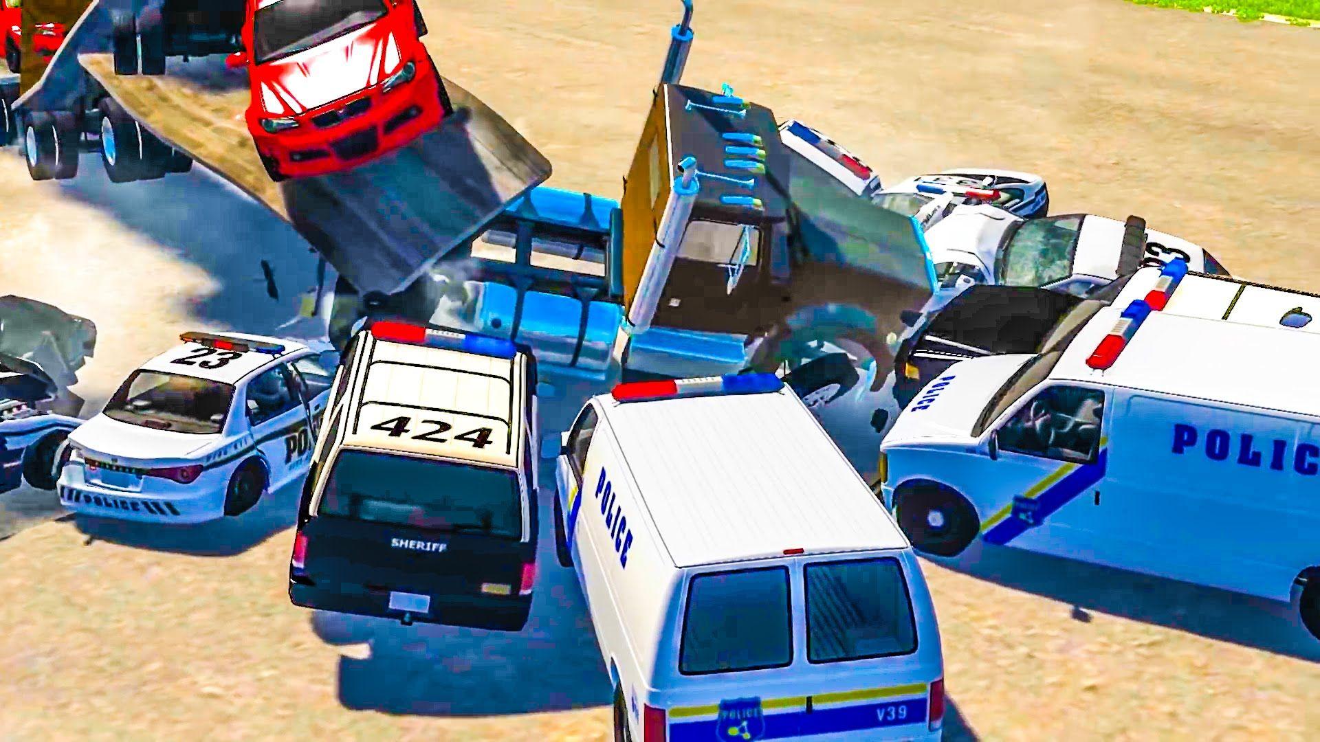 Игры для мальчиков Ломаем машинки! Полицейские машины ...
