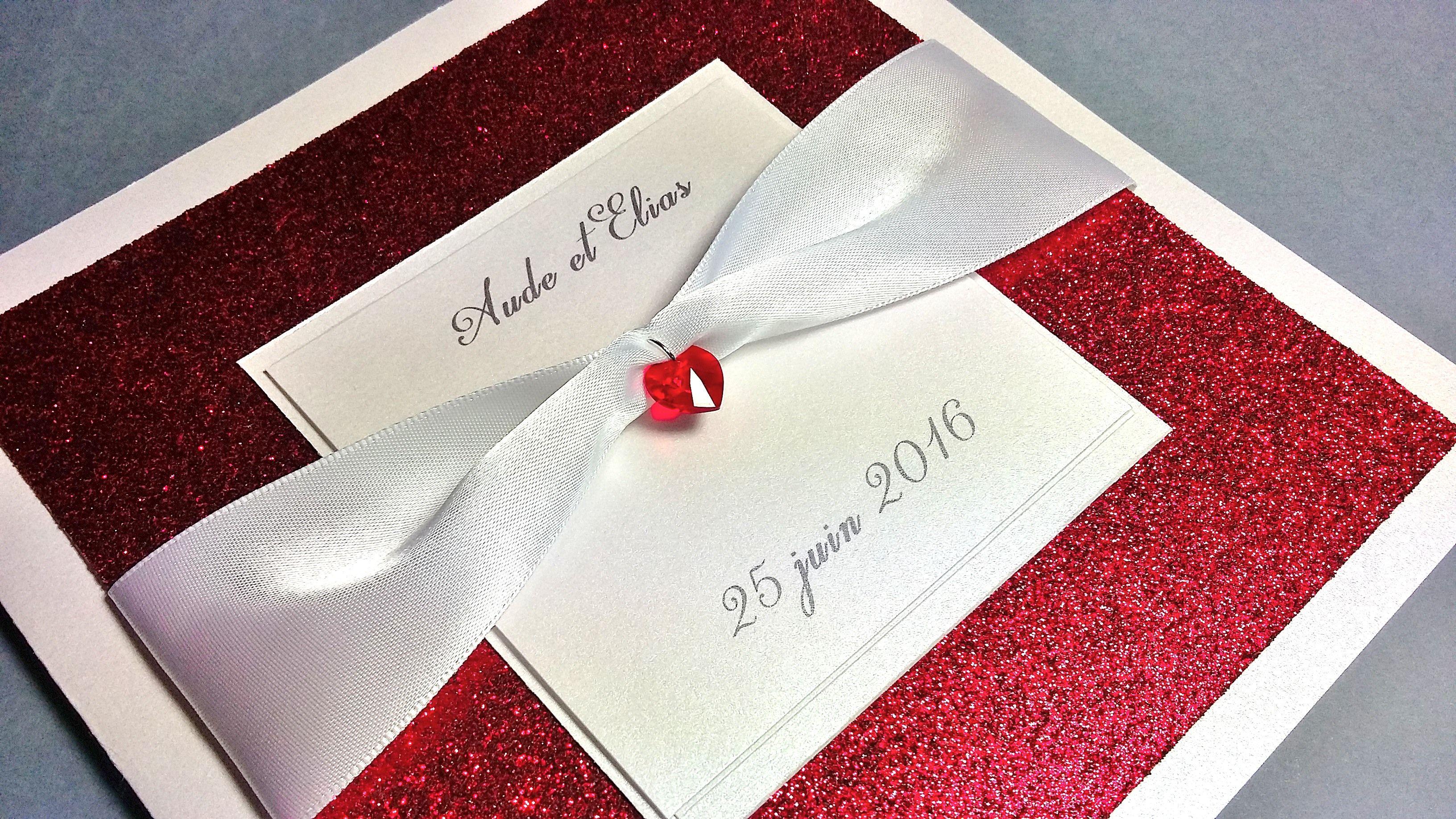Faire-Part Mariage Rouge Blanc - Collection Sophia- Dentelle, Ruban ...