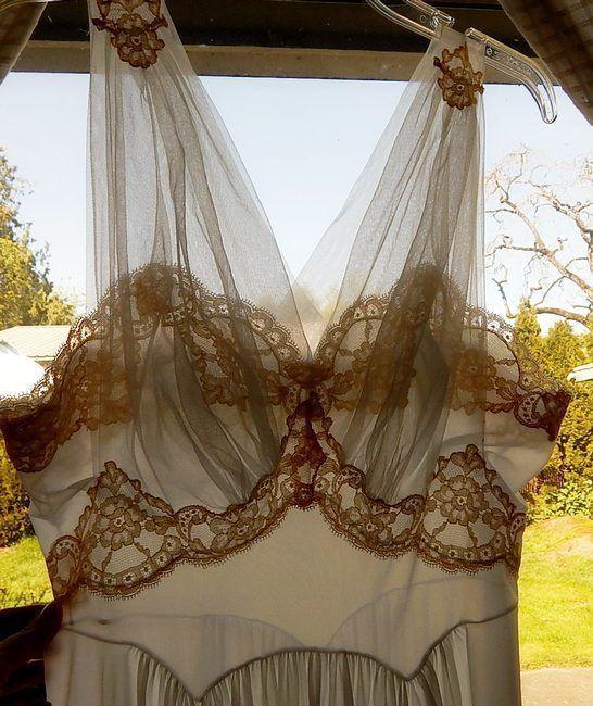 Vintage Vanity Fair Nightgown Sheer Blue Nylon Lace Applique Chiffon Overlay