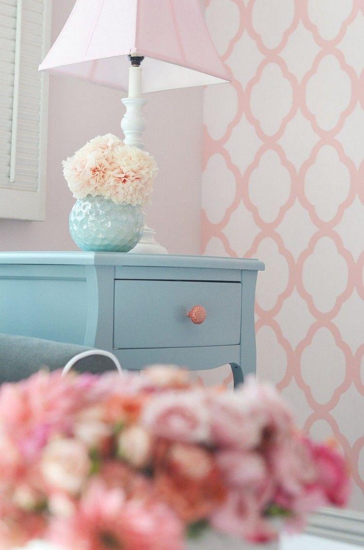 Inspirierend Muster Wand Ideen Von Wand-streichen-muster-ideen-muster-ideen-schlafzimmer-rosa-weiss