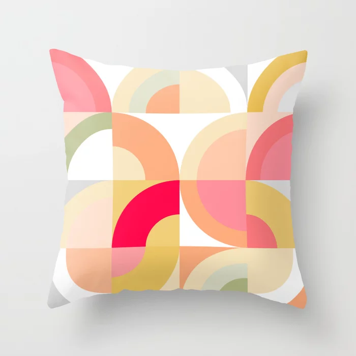 Buy Follow The Rainbows Mid Century Modern Throw Pillow By Domvariwords Worldwide Shipping Available At Society6 Modern Throw Pillows Throw Pillows Pillows