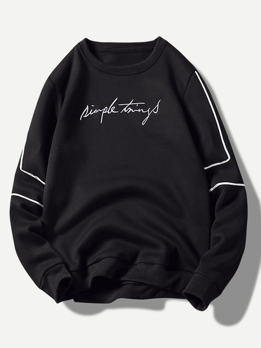 Men Embroidery Letter Sweatshirt Shein Sheinside Mens Street Style Mens Sweatshirts Sweatshirts [ 1199 x 900 Pixel ]