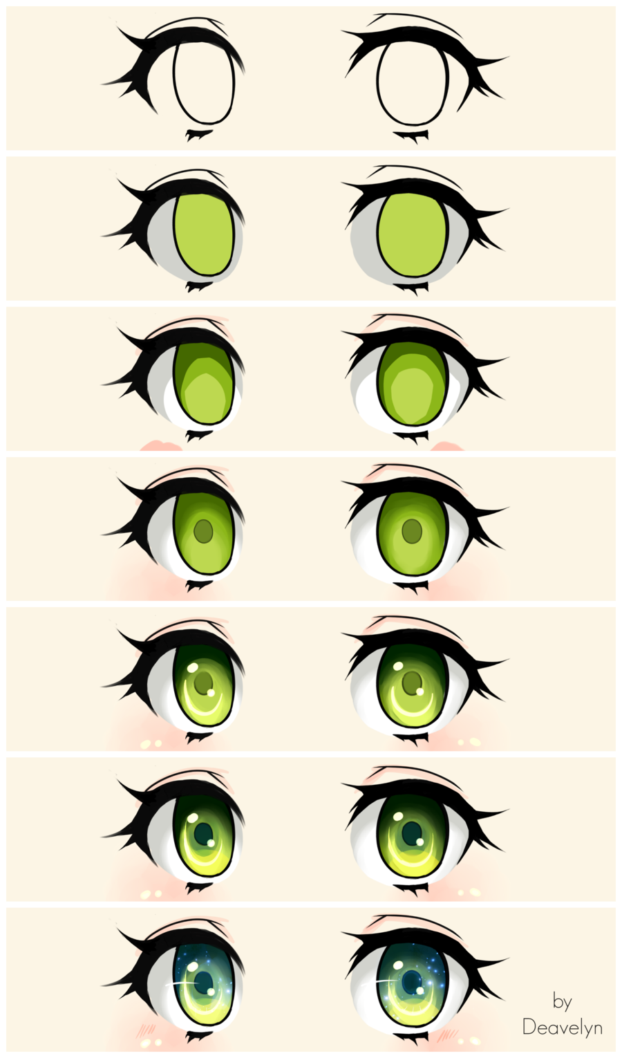 Cute green eyes Steps by Deavelyn Schizzo con anime