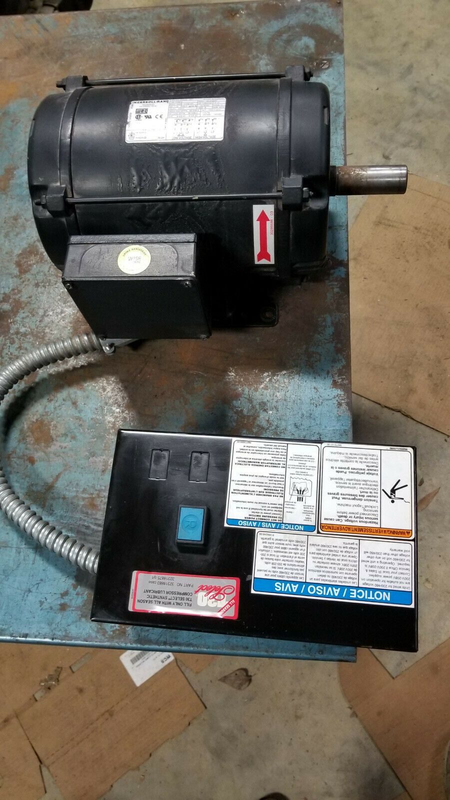 Ingersol Rand Air Compressor 7.5HP 3 phase motor and