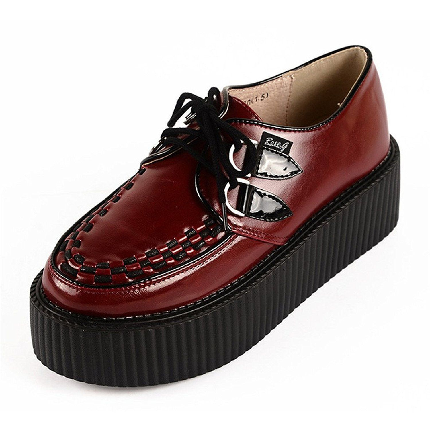 Women Leather Lace Up Platform Oxfords Flats Punk Goth Creepers