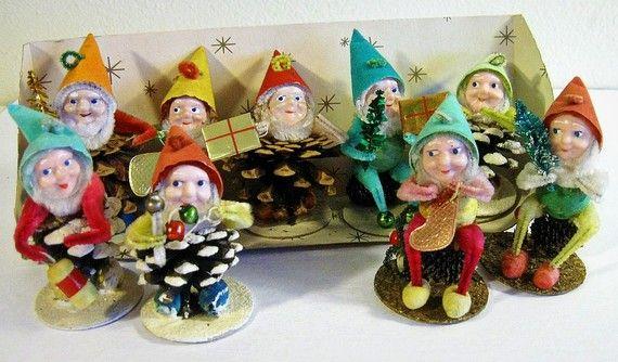 Vintage Elves Shiny Brite Pine Cone Christmas Ornaments Set Etsy Christmas Ornament Sets Vintage Christmas Decorations Vintage Holiday