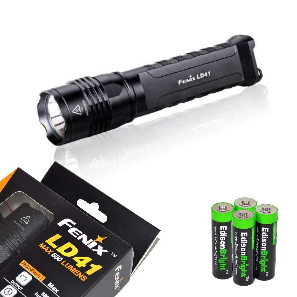 Fenix Ld41 Xm L2 U2 680 Lumen Led Tactical Flashlight With Four Rechargeable Aa Batteries Charger And Four Edi Tactical Flashlight Alkaline Battery Flashlight
