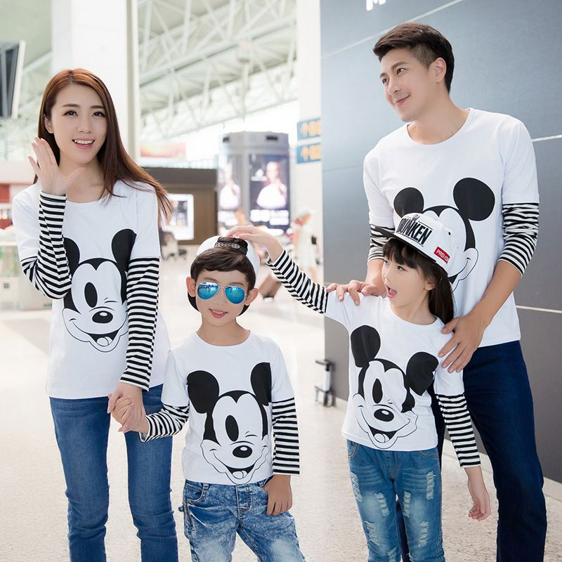 a161ab86f5899 2017 autumn family look mickey t shirts matching mother father baby daughter  and son clothes outfits mommy and me clothes