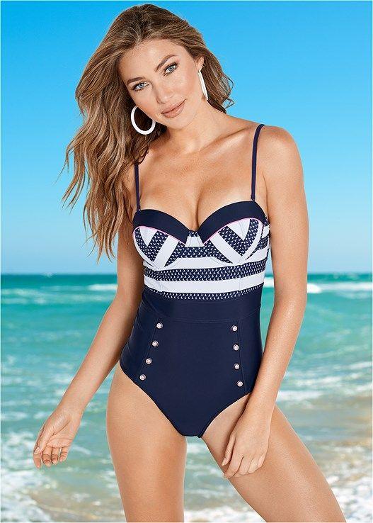 b6c850b6ee7 Venus Women s Button Detail One-Piece Swimsuit - Blue white