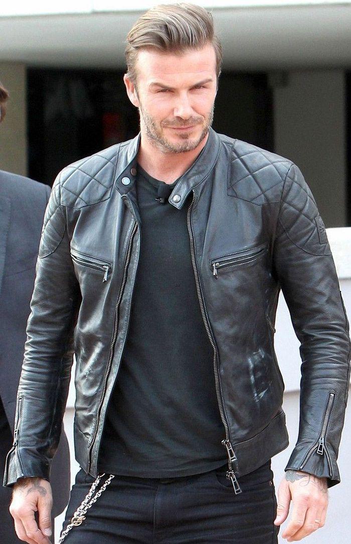 David Beckham Black Leather Jacket http://www.stinsonleathers.com ...