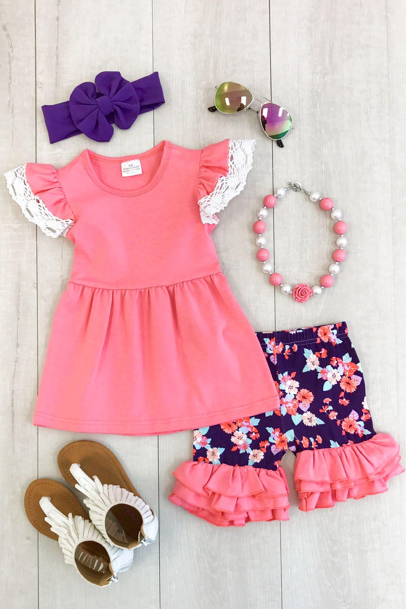 d797ef777dc Coral and Purple Floral Crochet Short Set